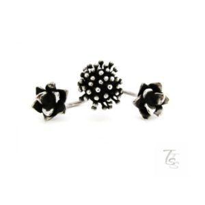 Double floral silver ring