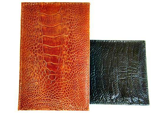 ostrich skin flat wallet