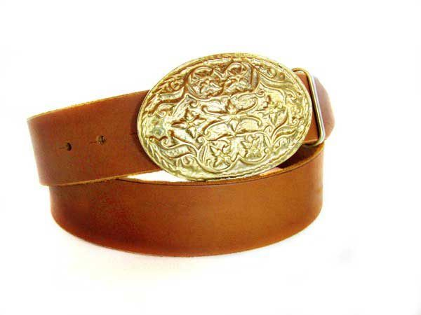 Bronze Buckle Leather Belt